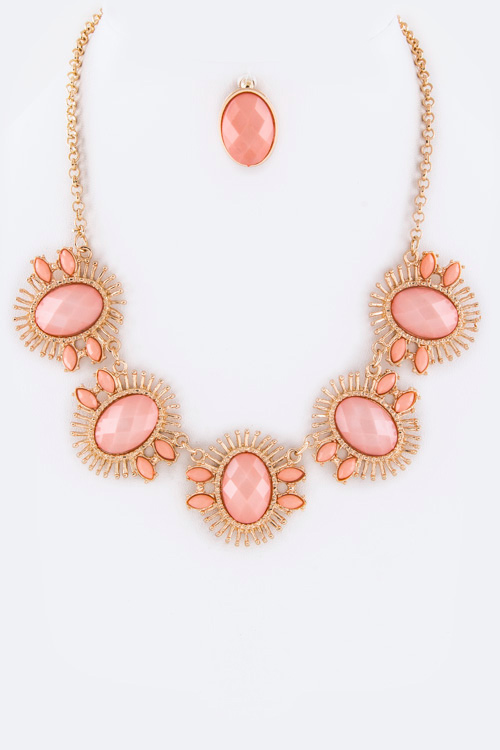 Oval Stones Statement Necklace Set