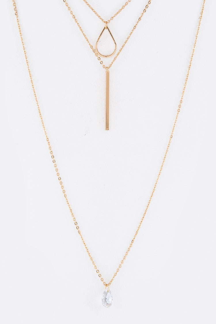 Metal Bar & Teardrop Charms Layer Necklace Set