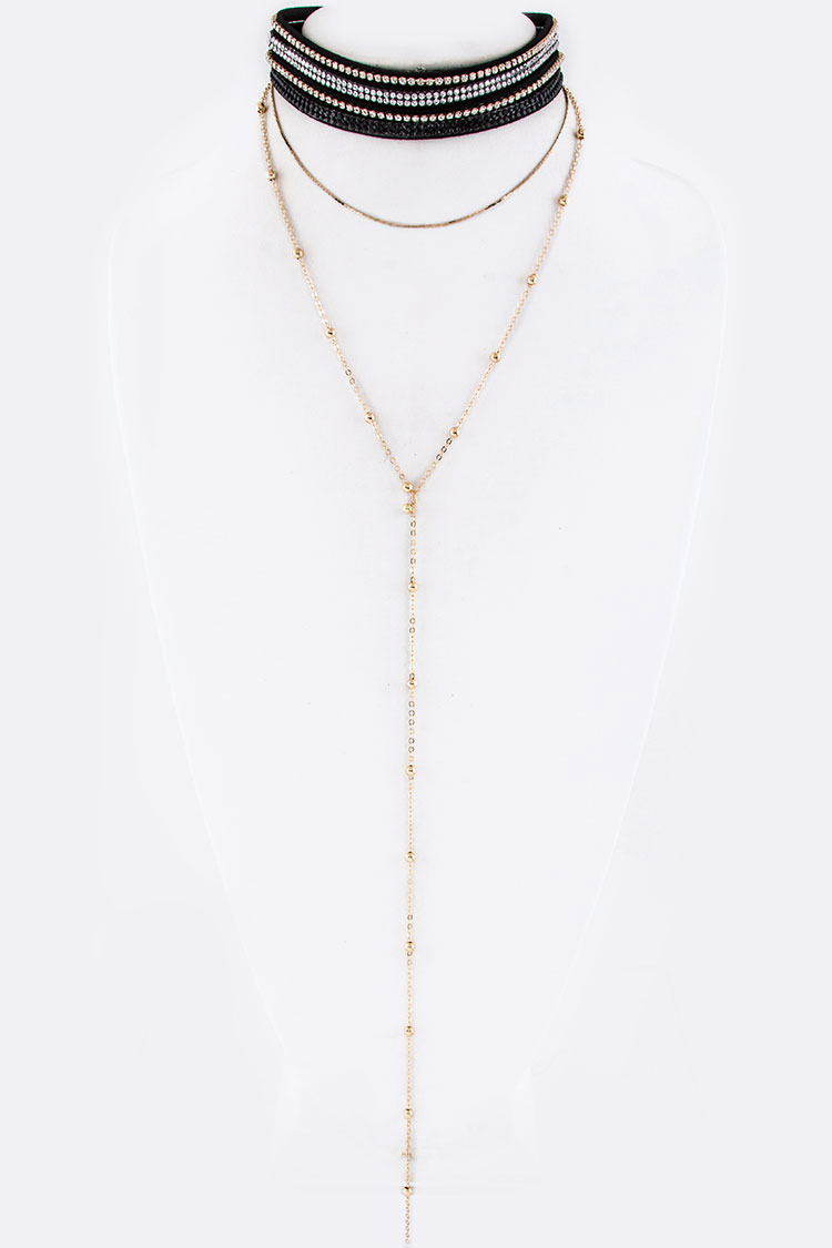 Crystal Layer Choker & Chain Necklace Set