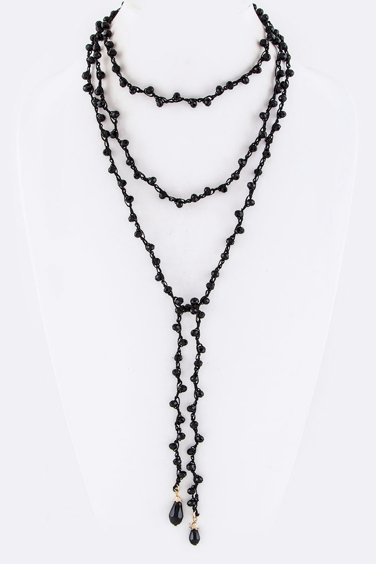 Laced Beads Wrapped Choker Necklace