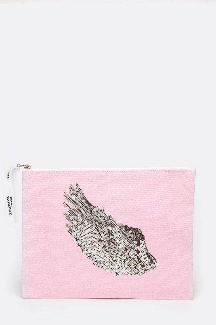 Silver Wing Sequins Canvas Pouch