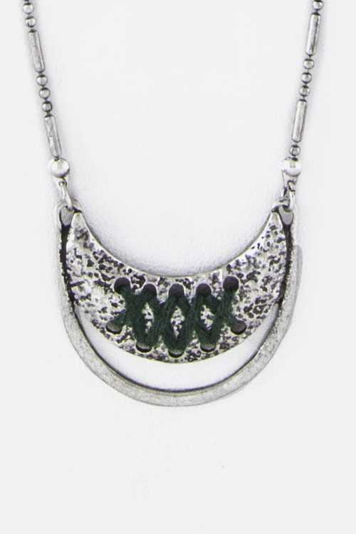 Laced Metal Crescent Pendant Necklace