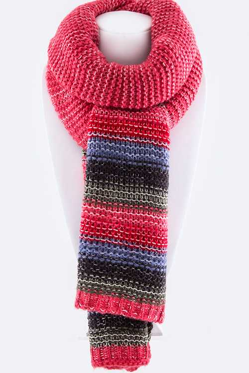 Color Blocking Stripes Heavy Winter Scarf