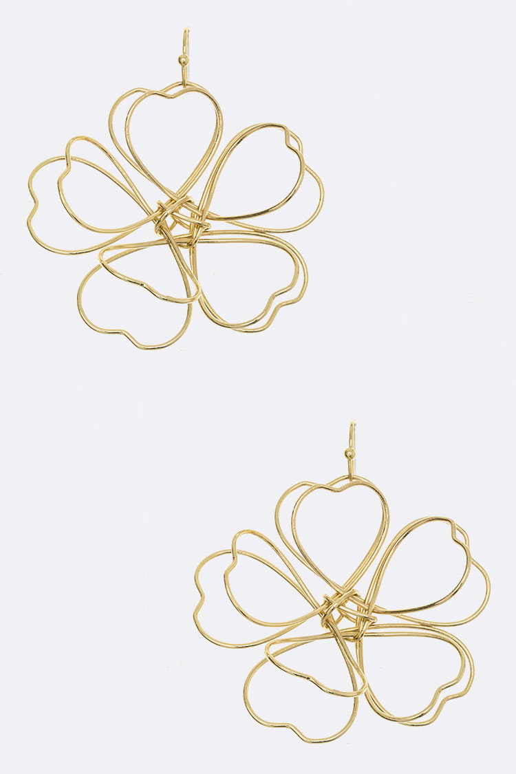 3D Wire Flower Earrings