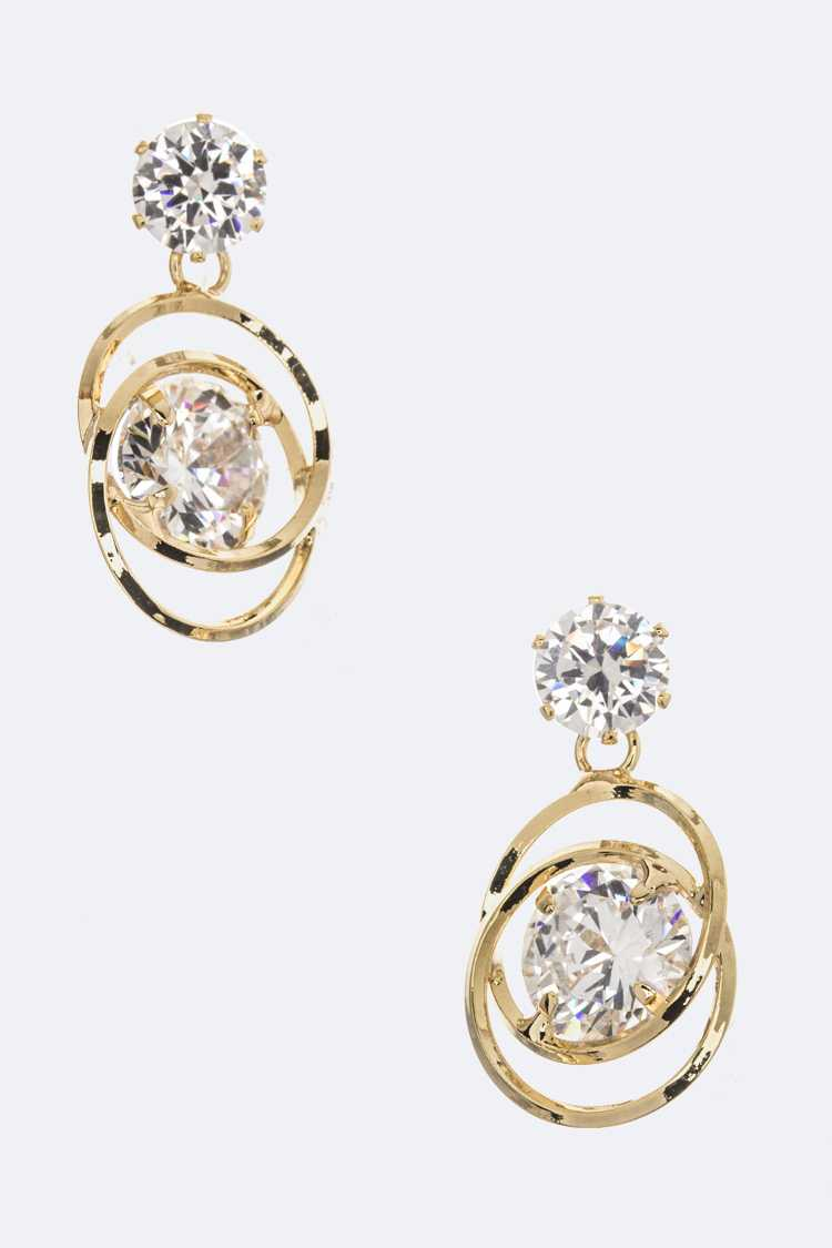 CZ & Linked Hoops Dangle Earrings