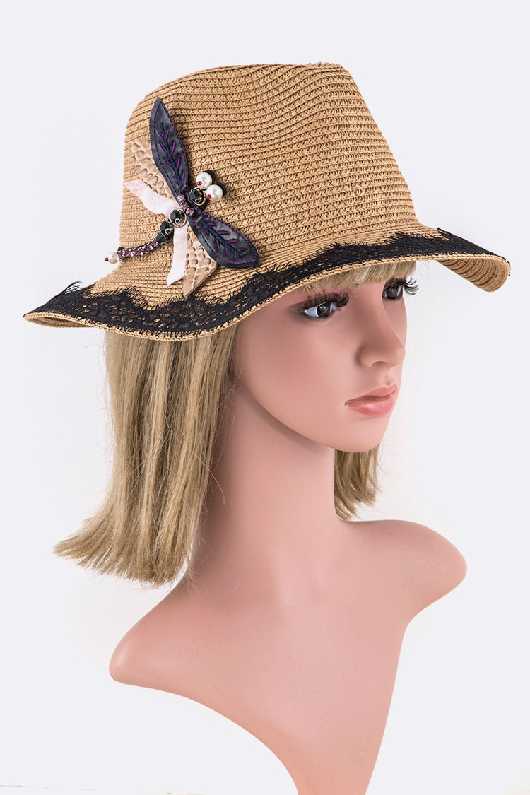 Laced Brim Straw Panama Hat