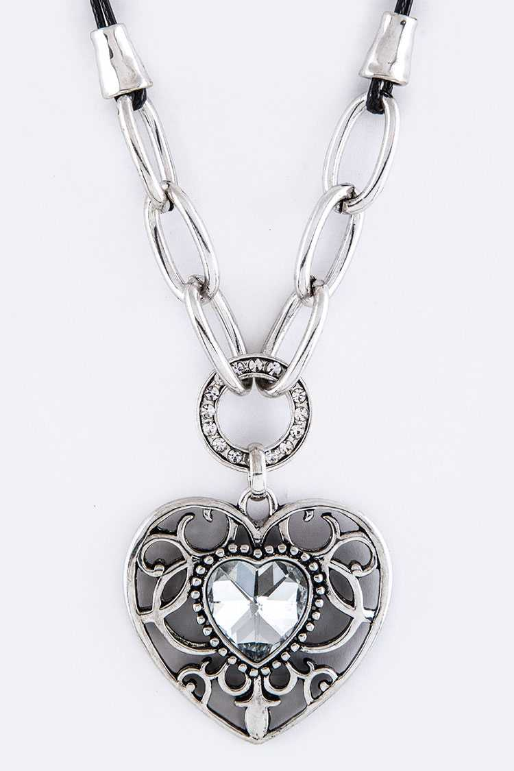 Crystal & Filigree Heart Pendant Necklace Set