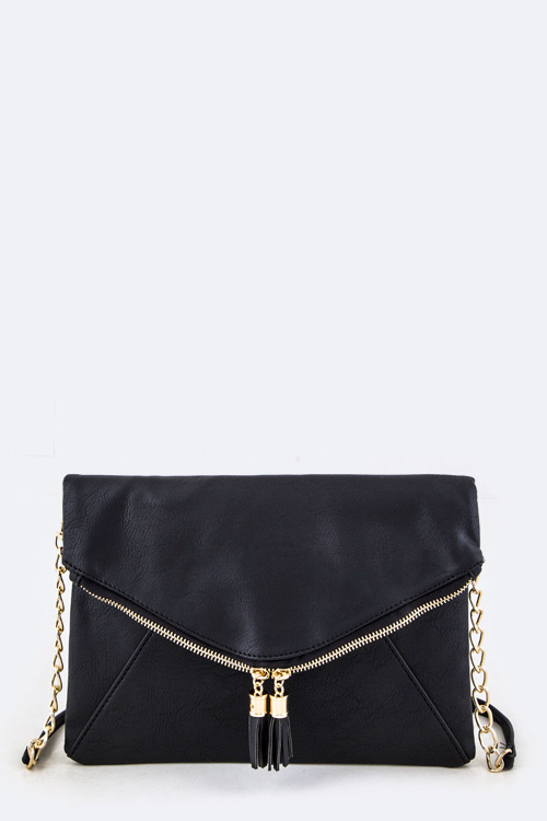 Tassel Zippers Folding Clutch