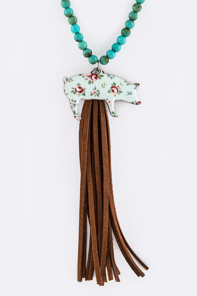 Rose Print Pig & Suede Tassel Necklace Set