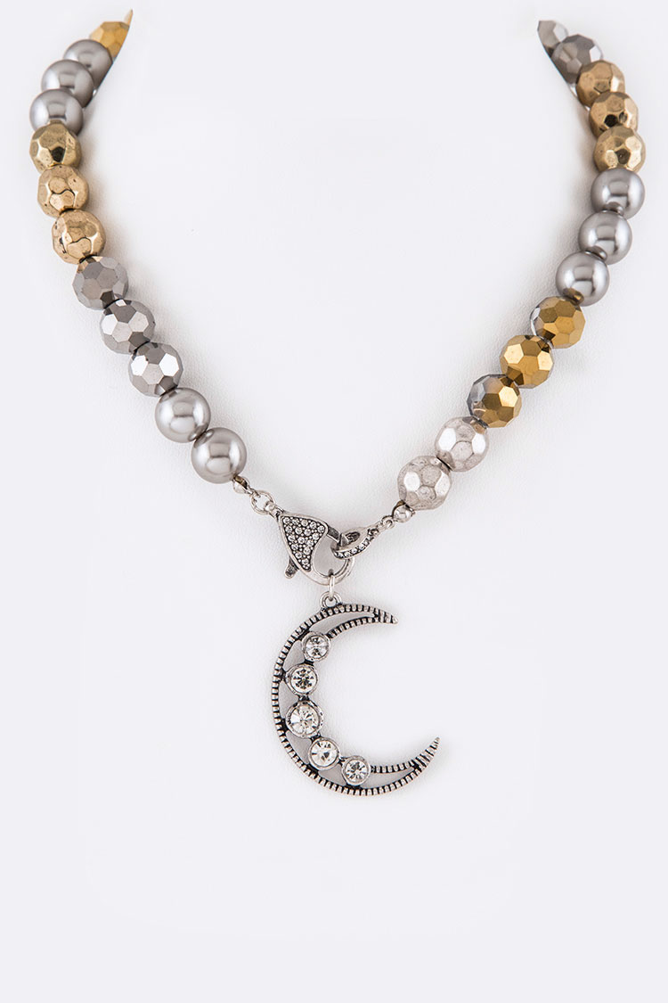 Crystal Moon Iconic Clasp Necklace