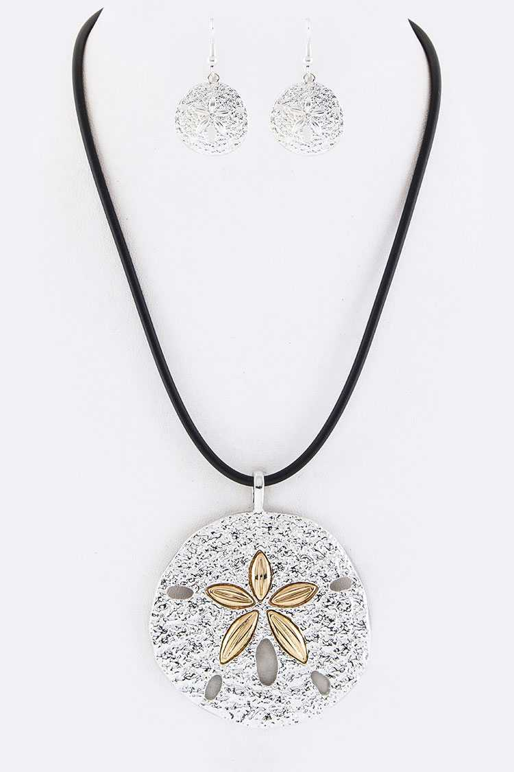 Sand Dollar Pendant Necklace Set