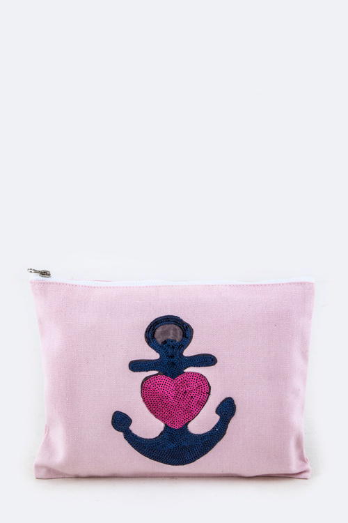 Sequins Heart Anchor Pouch