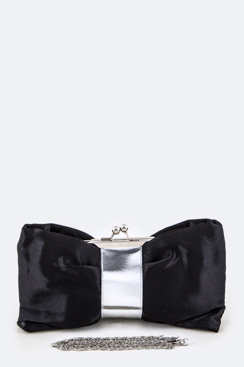 Metalic Bow Convertible Clutch