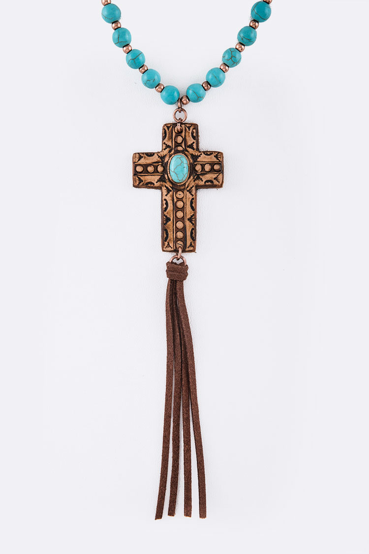 Genuine Leather Embossed Cross Turquoise Pendant Necklace Set