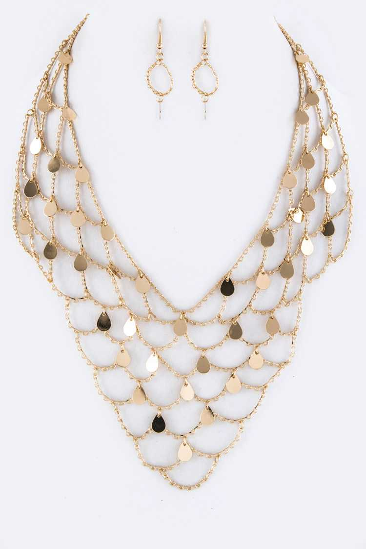 Metal Net Iconic Collar Necklace Set