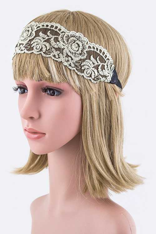 Lurex Rose Lace Stretch Headband