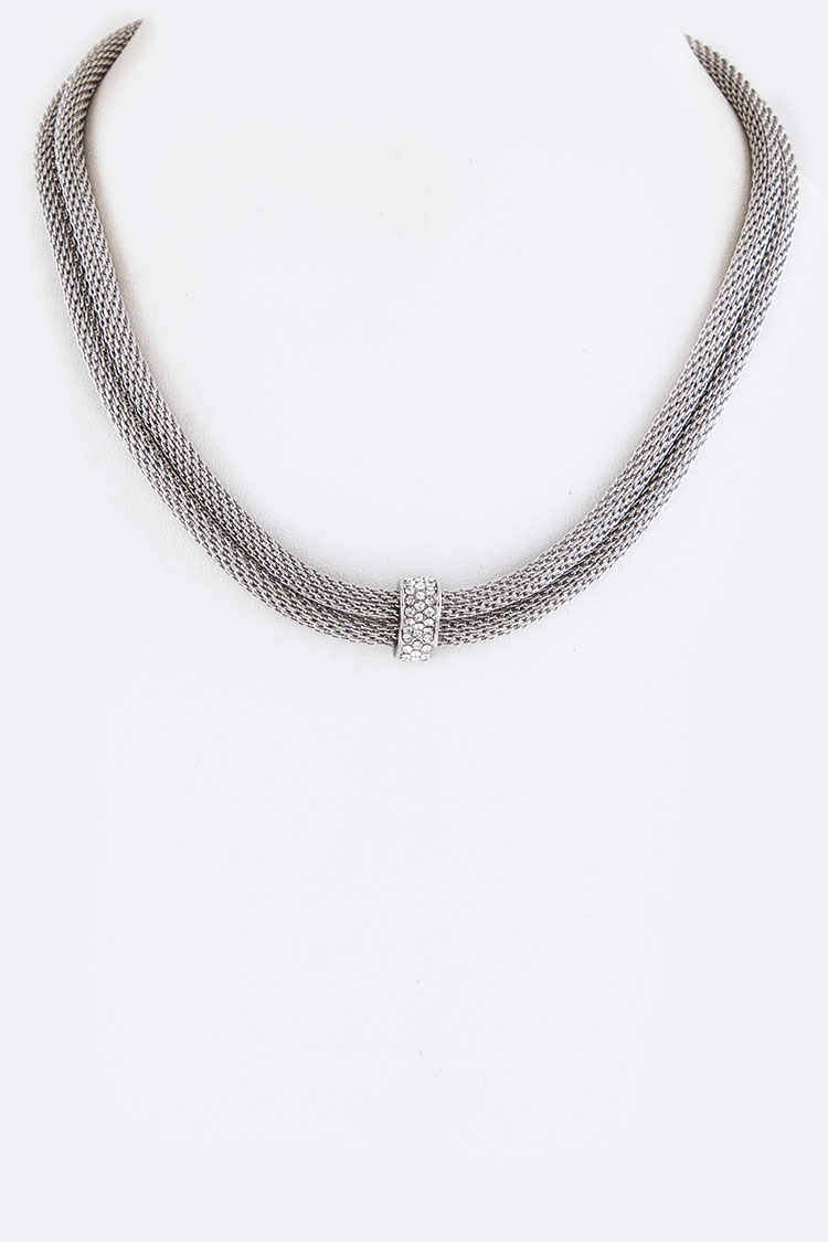 Crystal Hoop Layer Necklace