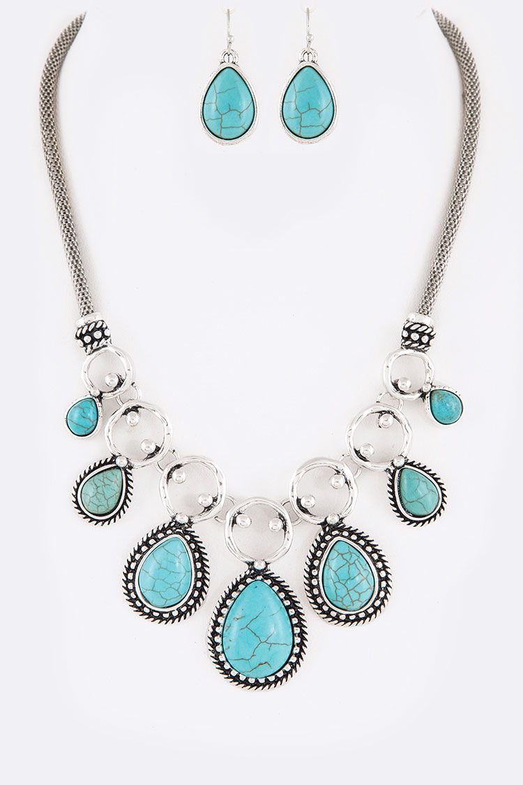 Turquoise Teardrop Statement Necklace Set