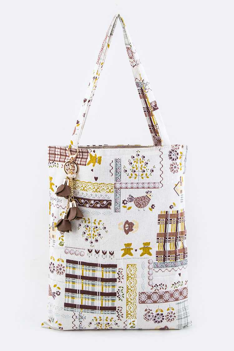 Mix Patterned Canvas Tote