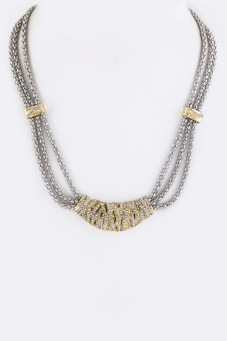 Crystal Tube Layer Necklace