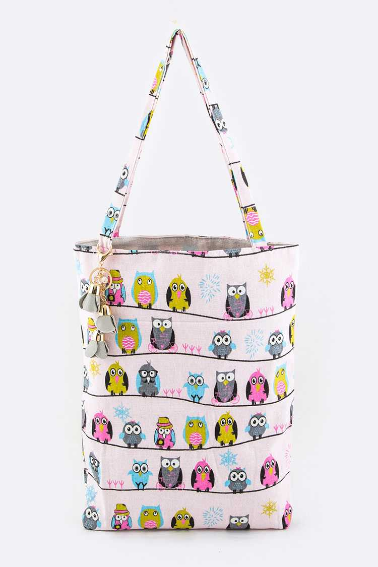 Comic Owls Print Canvas Tote