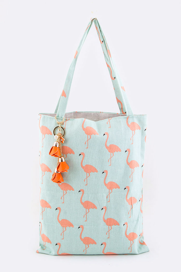 Flamingo Pattern Canvas tote
