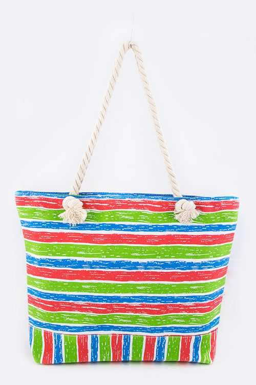 Mix Color Grunge Stripe Fashion Tote