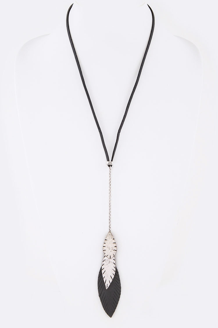 Mix Media Feather Drop Pendant Necklace