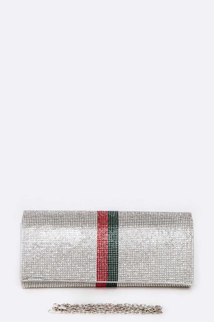 Contrast Stripe Crystal Pave Evening Clutch