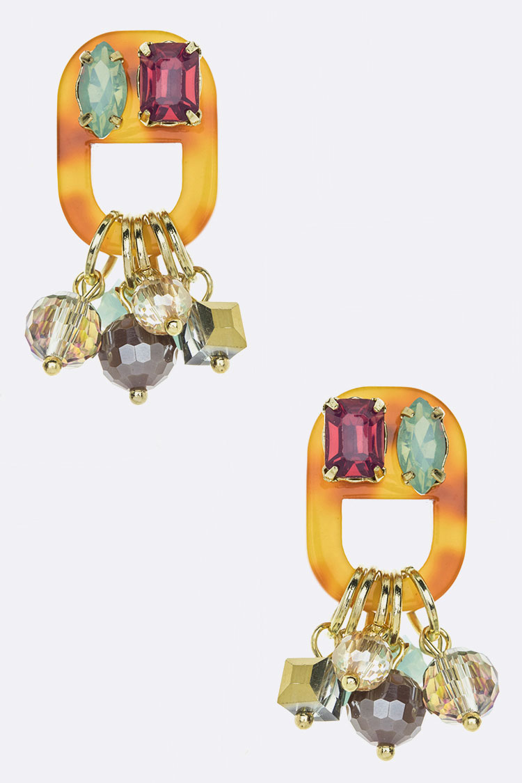Fringe Crystal Celluloid Iconic Earrings