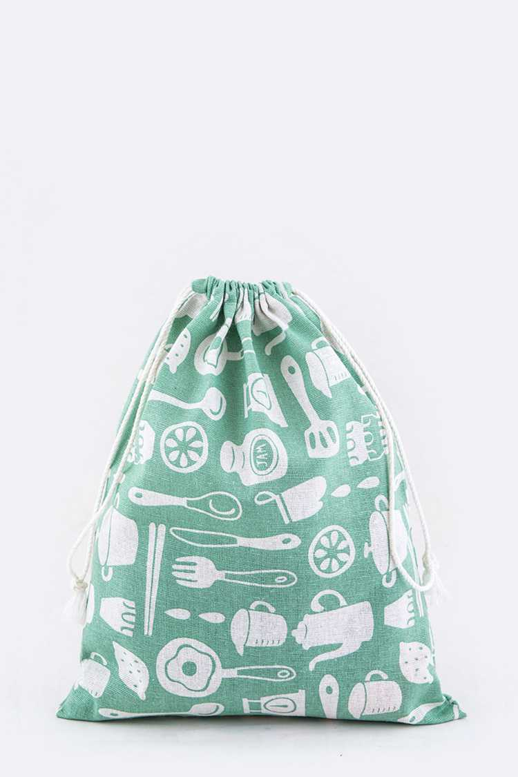 Kitchenware Print Canvas Drawstring Pouch - M