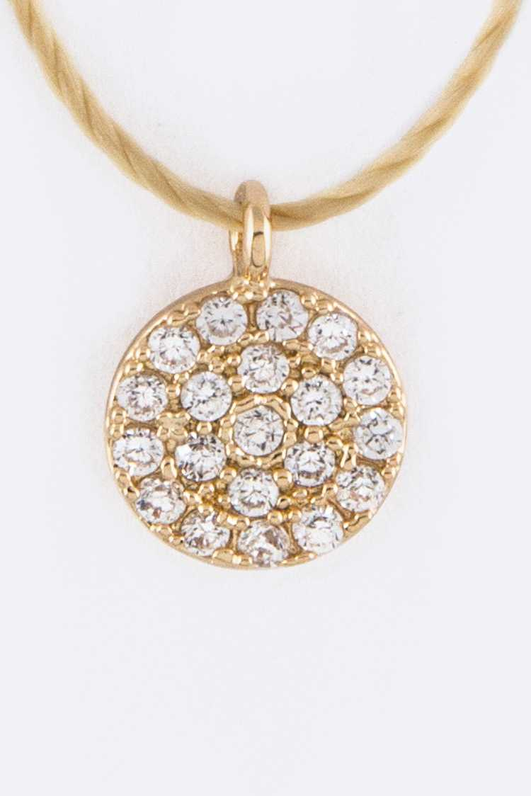 Petite CZ Disk Drawstring Necklace