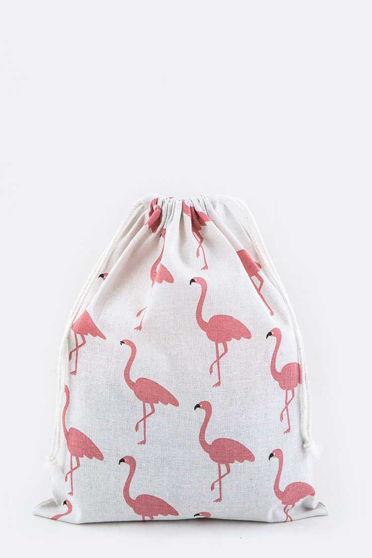 Flamingo Pattern Canvas Drawstring Pouch - M