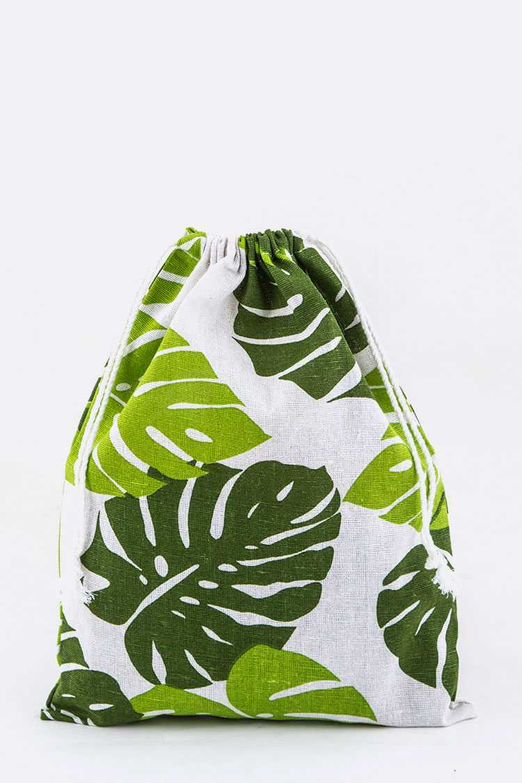 Leaf Print Canvas Drawstring Pouch - L