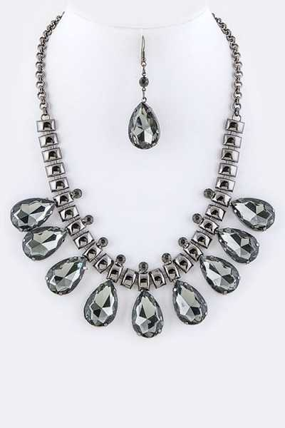 Crystal Teardrops Statement Necklace Set