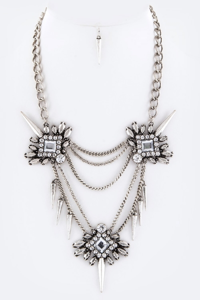 Iconic Spiky Crystal Statement Necklace Set