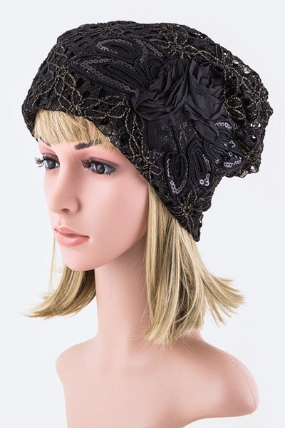 Sequins Flower Laced Beanie Hat
