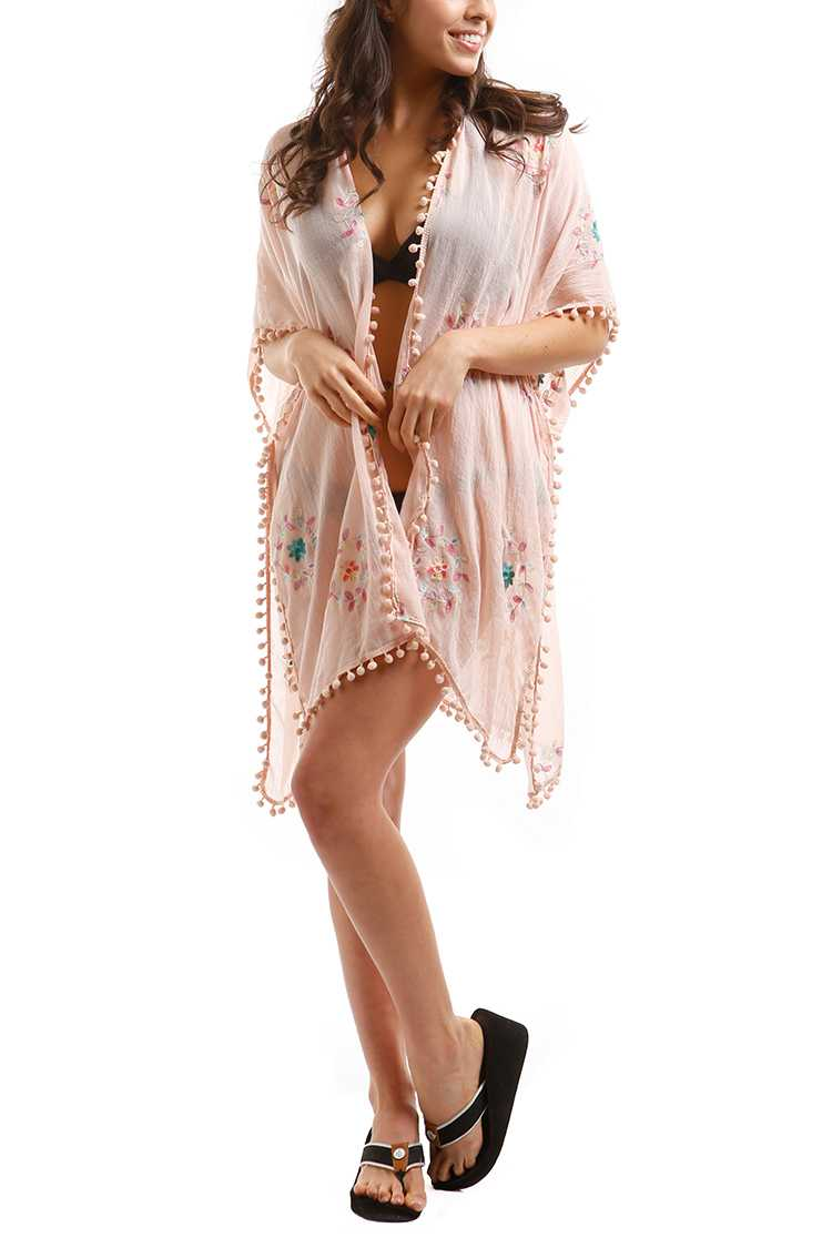 Embroidered PomPom Viscose Cover Up