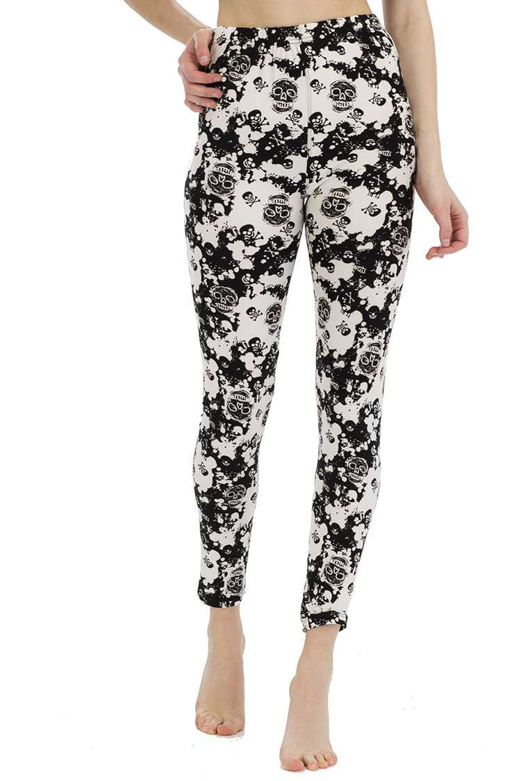 Abstract Skull Peach Skin Leggings