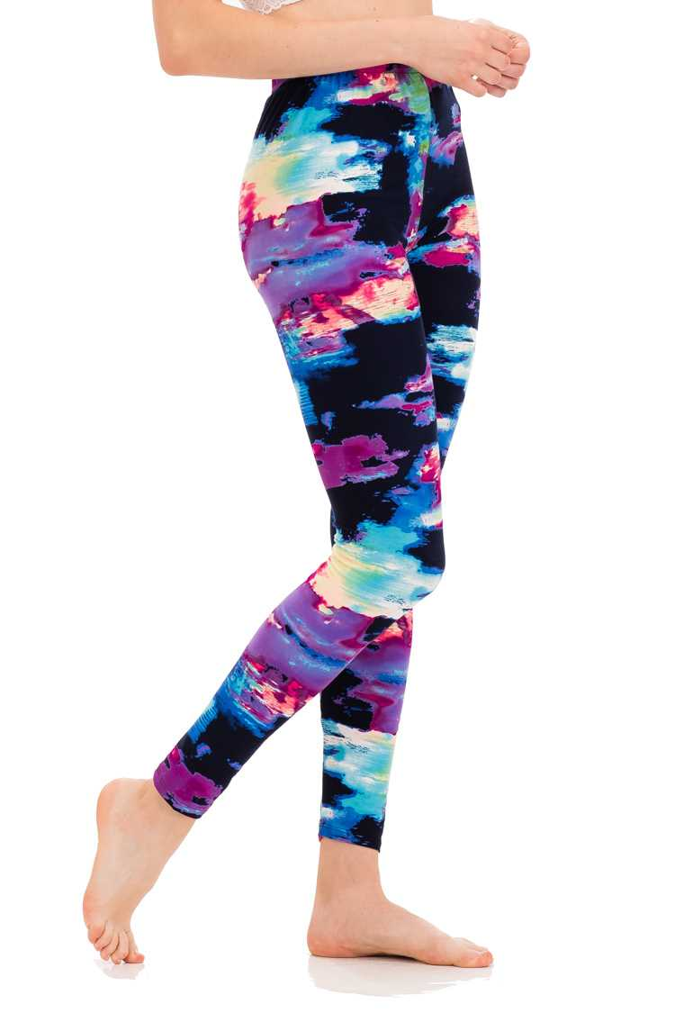 Abstract Stroke Peach Skin Leggings