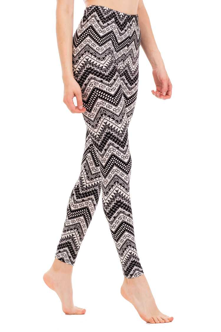 Mix Patterned Chevron Peach Skin Leggings