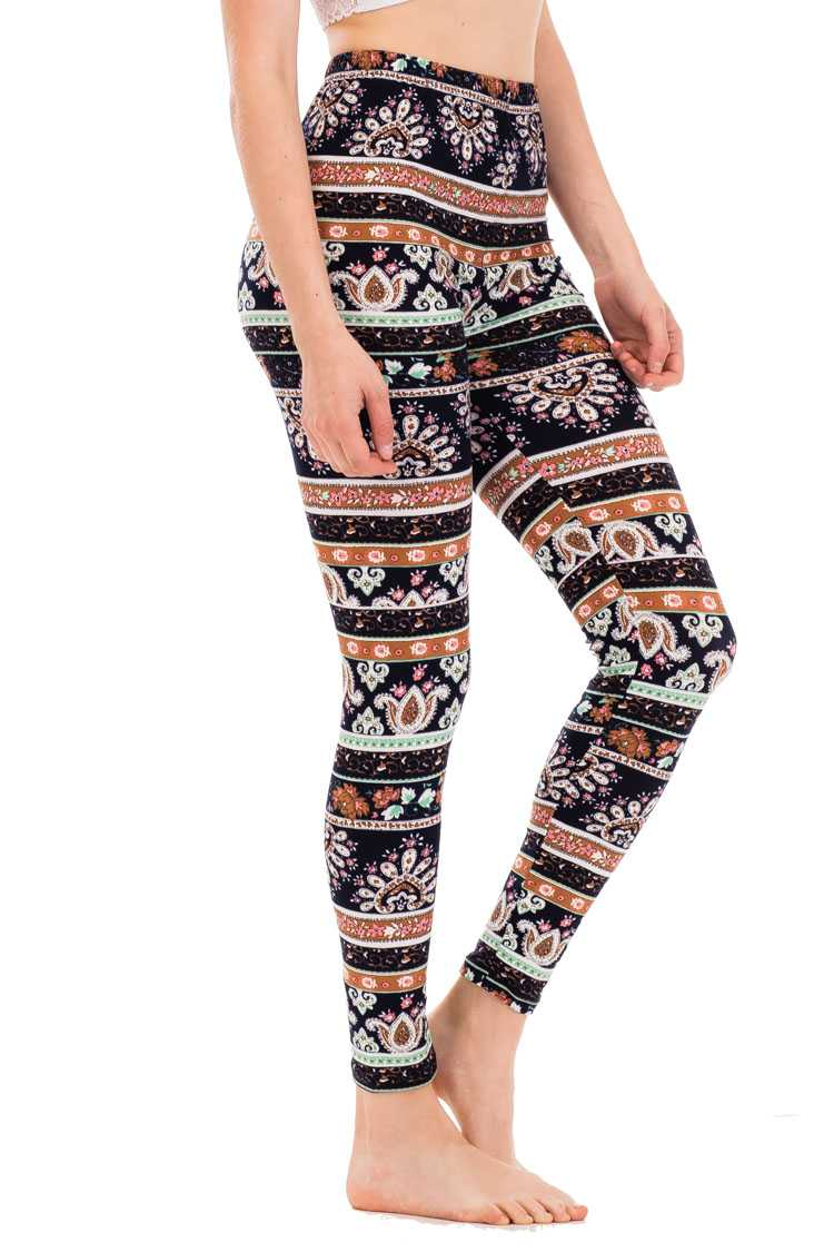 Paisley Stripe Print Leggings