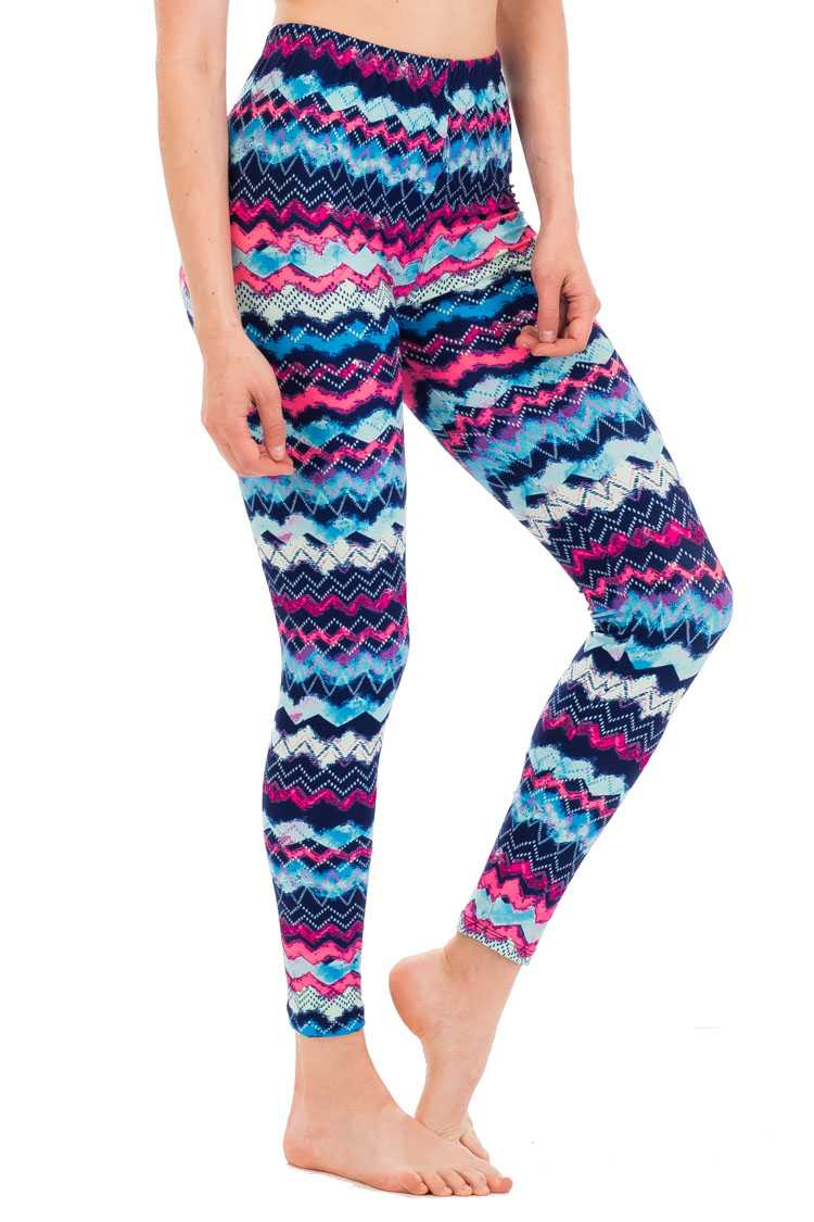 Abstract Chevron Peach Skin Leggings