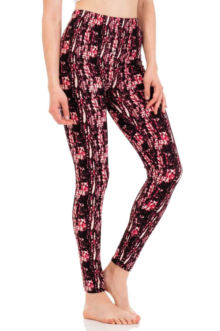 Abstract Print Peach Skin Leggings