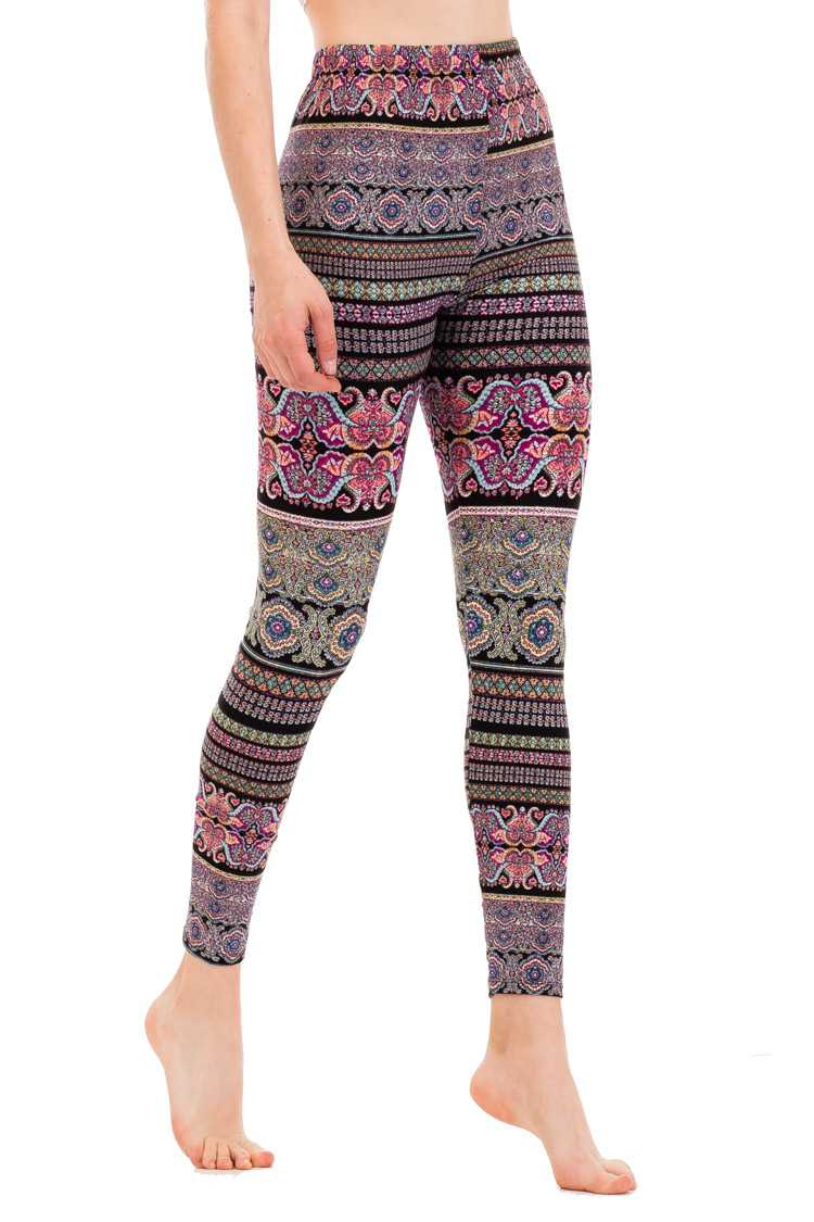Blocked Paisley Print Brushed Leggings