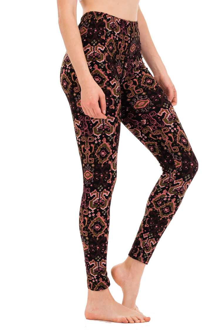 Abstract Print Peached Skin Leggings
