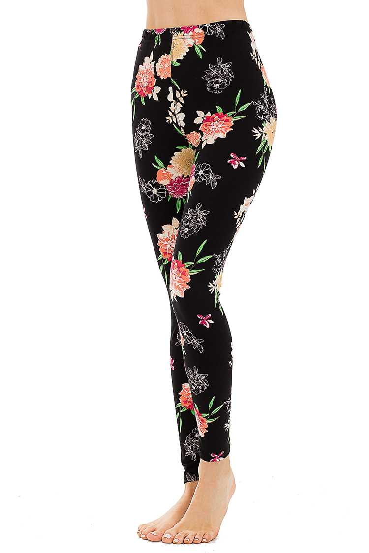 Peach Skin Mix Floral Print Full Leggings