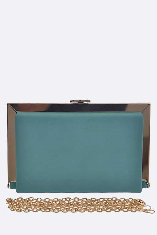 Metal Edged Skinny Box Clutch