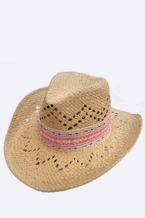 Perforated Chevron Fashion Straw Cowboy Hat