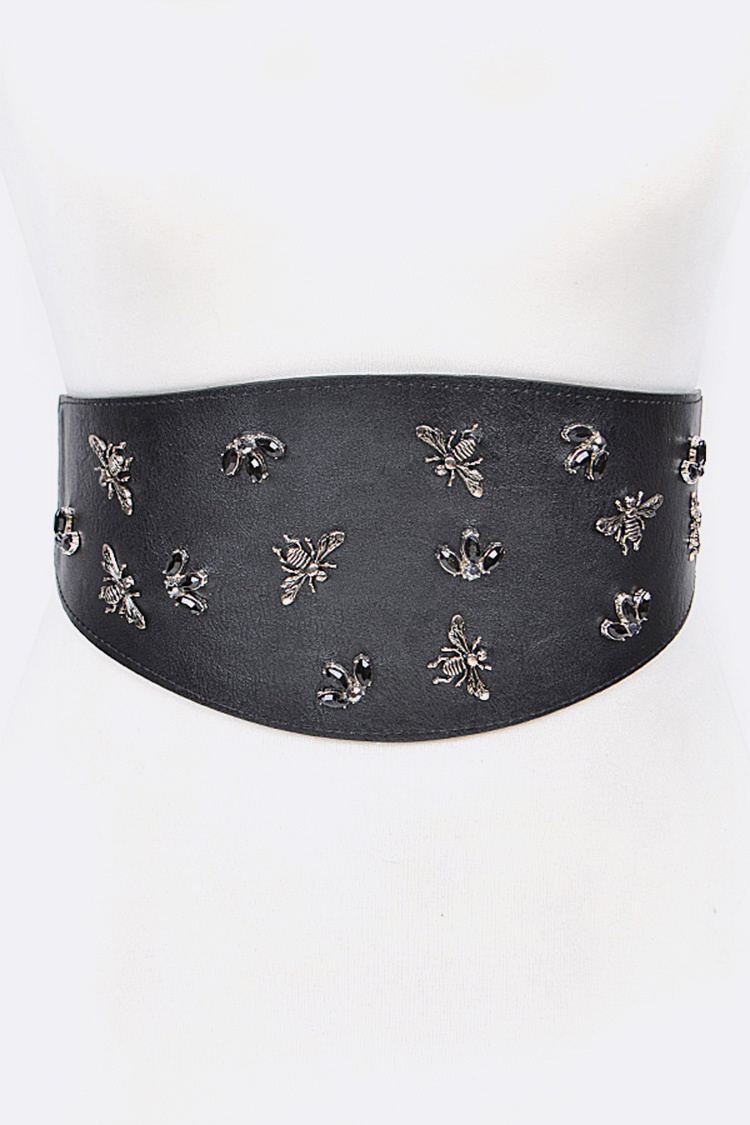 Bee & Stone Studded Stretch Belt